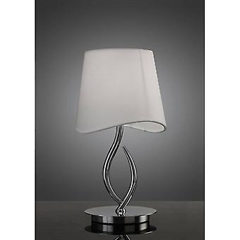 Ninette Table Lamp 1 Bulb E14 Small, Polished Chrome With Ivory White Lampshade
