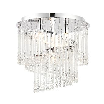Camille Ceiling Light, Chrome And Glass