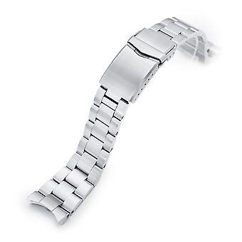 Bracciale orologio Strapcode 22mm super-o boyer 316l braccialetto orologio in acciaio inox per orient kamasu, spazzolato v-clasp