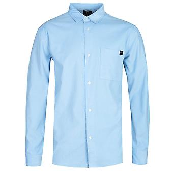 Edwin Minimal Lange Mouw Baby Blauw Corduroy Shirt