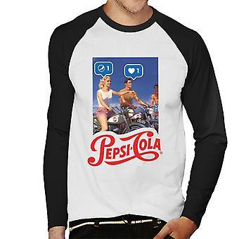 Pepsi Cola Be Sociable Motorcycle Men's Baseball Long Sleeved T-Shirt