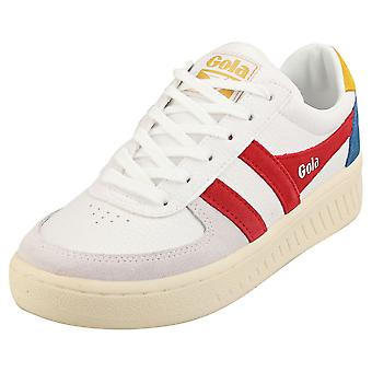 Gola Grandslam Trident Womens Casual Trainers in Wit Blauw Rood