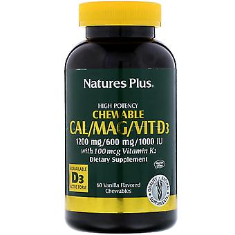 Nature's Plus, Cal/Mag/Vit D3, Vanilje smaksatt, 60 Chewables