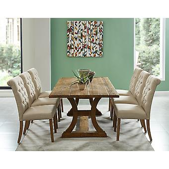 Alice/Grayson 7Pc Dining Set - Vintage Pine Table/Beige Chair