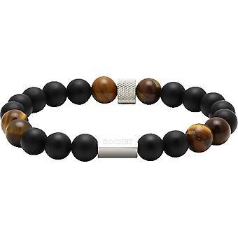 Rochet B28600103-ZEN Agaat zwarte parels/Quartz Tiger Eye Steel Molet mannen