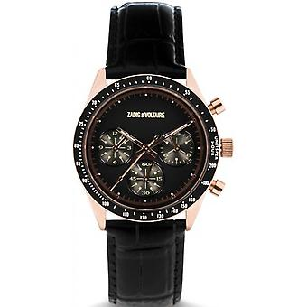 Zadig and Voltaire ZVM115 Watch - Black Leather Watch Bo tier Dor Rose Men's Chronograph