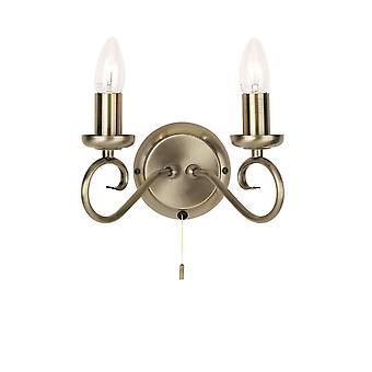 endon trafford - 2 lys innendørs stearinlys vegg lys antikk messing, E14
