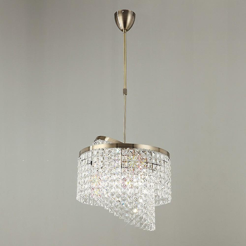 Inspired Diyas - Cortina - Telescopic Ceiling Pendant 6 Light with Adjustable Rings Antique Brass, Crystal