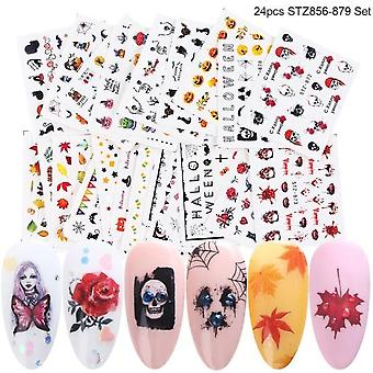 24 Sheets/sets Nail Water Sticker Flower Flamingo Beauty Slider, Bloom Colorful