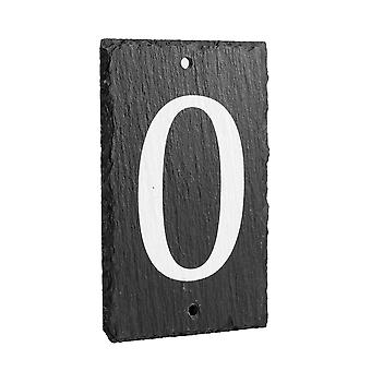 Natural Solid Slate House Numbers (0-9) Including Fixings & Caps - Number 0