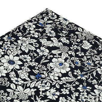 Ties Planet Navy Blue & White Floral Pattern Cotton Pocket Square Handkerchief