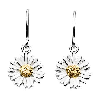 Dew Sterling Silver Daisy With Gold Plate Drop Earrings 6081GD018