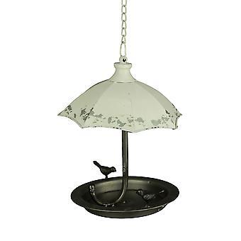 Afligido branco metal arte guarda-chuva pendurado pássaro alimentador