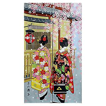Long Doorway Curtain - Kyoto Geisha & Cherry Blossom Window Treatment Tapestry
