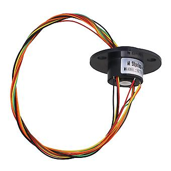 Black 45mm Flange Dia 250RPM 6 Circuits Capsule Slip Ring AC220V 1.5A