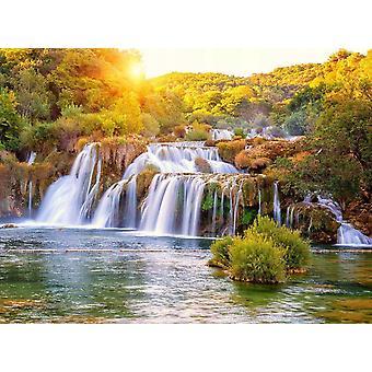 Behang muurschildering waterval Kroatië