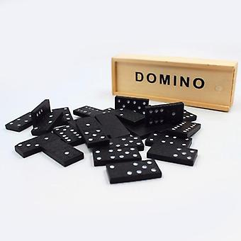 Kid Wooden Box Dominoes Set Toy- Traditional Classic 28 Domino Travel Funny