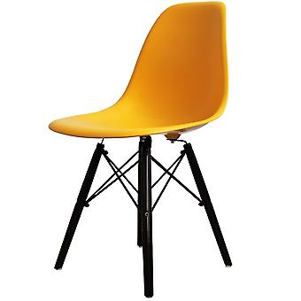 Charles Eames Style Bright Yellow Plastic Retro Side Chair Black Wooden Legs