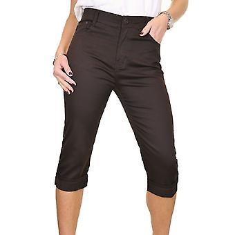 icecoolfashion Cintura Alta Mujer Chino Sheen Pantalones 3/4 Largo Capri Jeans Estilo