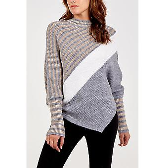 Nicole Striped Asymmetric Jumper | Grey | One Size