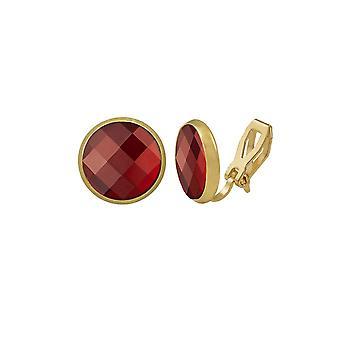 Wieczna kolekcja Symfonia Czerwona Szachownica Cut Austriacki Crystal Gold Tone Stud Klip na kolczyki