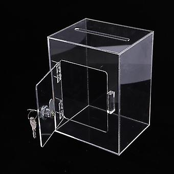 Suggestions Box With Lock Transparent Fundraising Box With Keylock Suggestion
