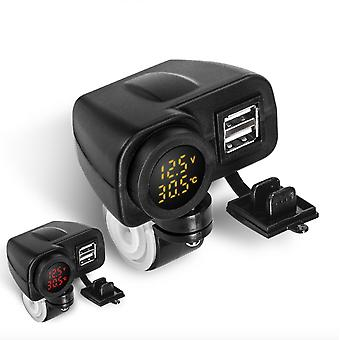 Motorcycle Car Phone Charger Waterproof Belt Switch Temperature Digital Display 12v To 5v Dual Usb Modified Accessories