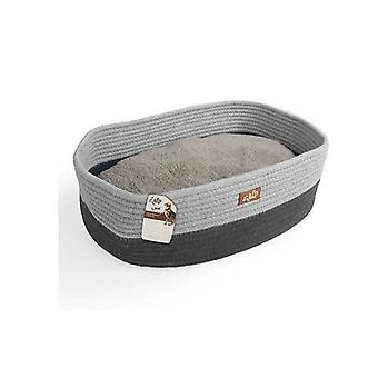 Cat Bed Oval Grey Rope Weave Removable Fluffy Internal Plush