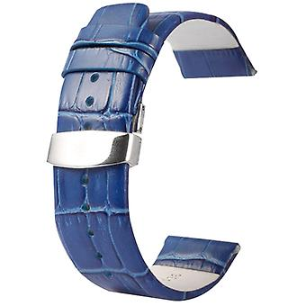 Kakapi for Apple Watch 38mm Crocodile Texture Double Buckle Genuine Leather Watchband, Only Used in Conjunction with Connectors (S-AW-3291)(Blue)