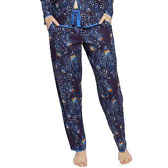 Cyberjammies 4229 Women's Sophie Ink Blue Mix Peacock Feather Print Cotton Pyjama Pant