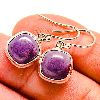 "Charoite Earrings 1 1/8"" (925 Sterling Silver)  - Handmade Boho Vintage Jewelry EARR409054"
