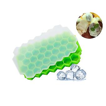 Ice Cube Mold Silicone Com Tampa Ice Cube Tray 2 Peças Ice Cube Tray Ice Maker Bpa-free 37x Ice Cubes For Whiskey Cocktail Baby Food Juice