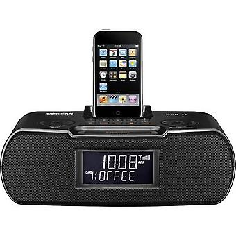 Sangean DCR-10 Desk radio DAB+, DAB, FM Apple Universal Dock, AUX, DAB+, SD, FM Battery charger, Recording mode, Incl. remote control, Alarm clock Black