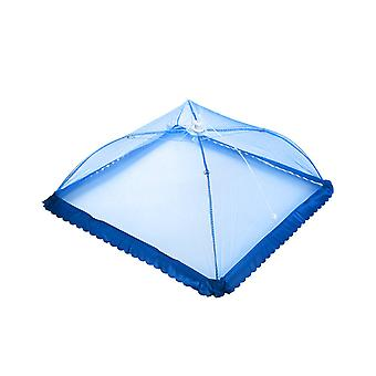 50*50*30cm Folded Mesh Screen Food Cover Tents Umbrella Desgin with Lace Blue