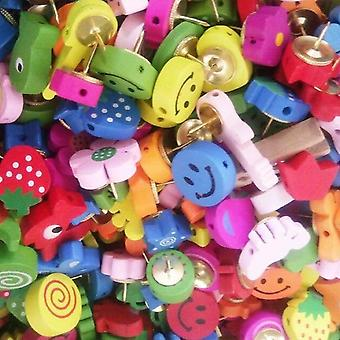 Kolorowa mapa Zdjęcia Drewniane Push Pin / thumbtacks