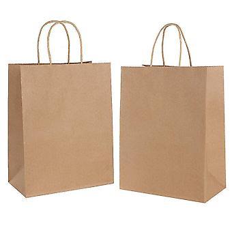 30St bruna papperspåsar med handtag15* 8 * 21cm pappersbärkassar,återvunna papperspåsarmed tvinnat h