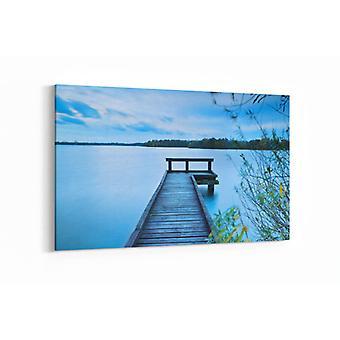 Schilderij - Houten pier op groot meer — 90x60cm