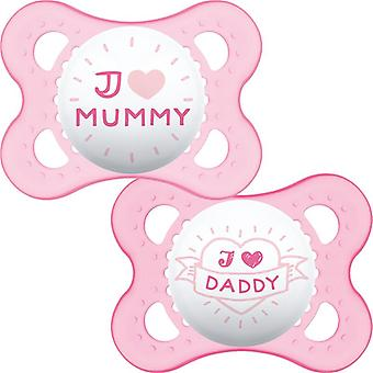 Mam style (i love) soother 0m+ 2pk pink