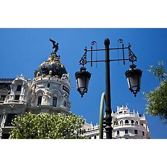 Spain Madrid Metropolis building on Grand Via Poster Print by Julie Eggers