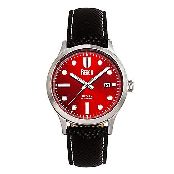 Reign Henry Automatic Canvas-Overlaid Leather-Band Watch w/Date - Red