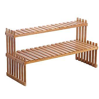 Bamboo plant storage rack, double-layer multifunctional display rack, indoor living room balcony flower stand