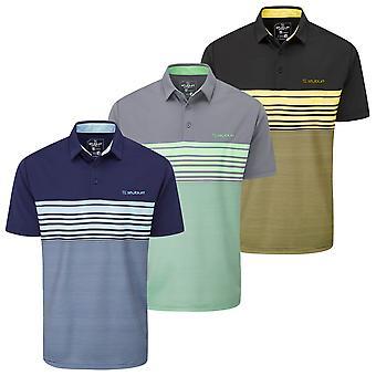 Stuburt Golf Mens 2021 Egerton Breathable Wicking Striped Summer Golf Polo Shirt