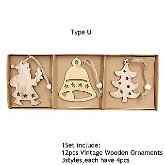 Vintage Hollow Christmas Wooden Pendants