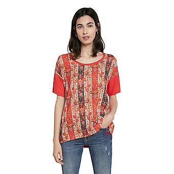 Desigual Lombok Red Ethnic Boho Frieze Tshirt SS21 Style 21SWTK61