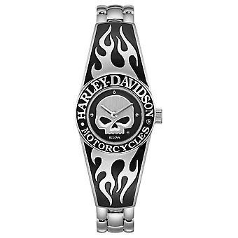 Harley Davidson Kvinnors Flammande Willie G Skull Dial | Rostfritt stål Bangle Armband 76L190 Klocka