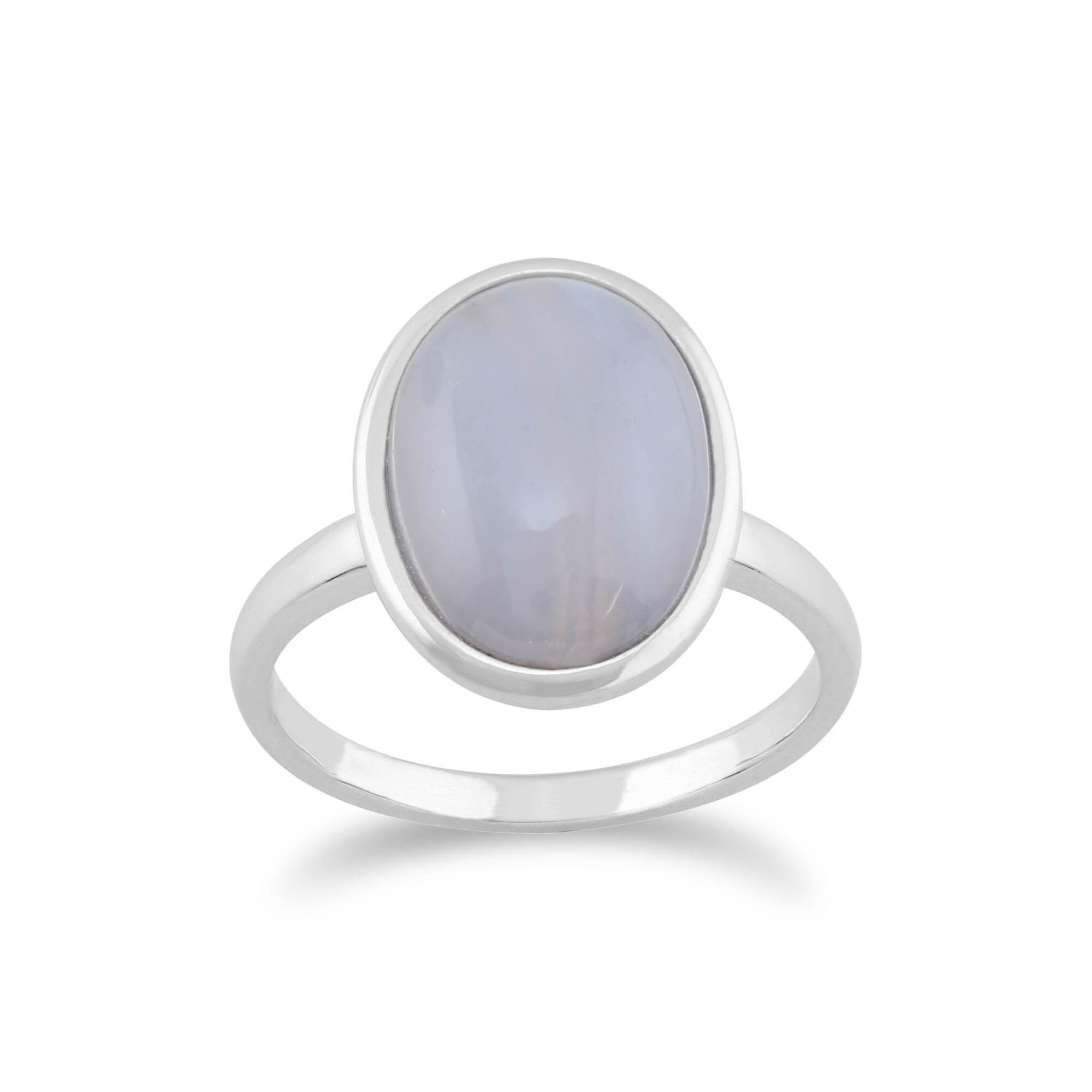 Gemondo 925 Sterling Silver 3.00ct Blue Lace Agate Oval Ring