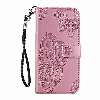 Folio leather case with owl pattern for iPhone 5S/SE - Rose gold
