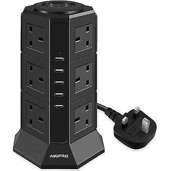 Gerui Surge Protector Extension Lead with USB Slots, Vertical Tower Power Strip Switched Desktop