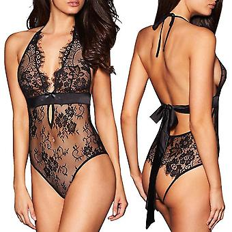 Sexy Lingerie Backless Lace Babydoll Open Crotch Underwear Black