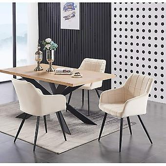 Lusso & Enzo Dining Set | Modern Dining Table | Velvet Dining Chair | Modern Set |  (black/oak & Cream)